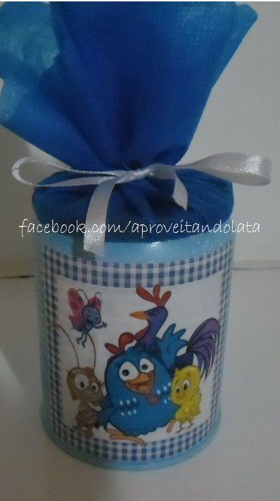 Lata decorada Galinha pintadinha www.facebook.com/aproveitandolata instagram @anadaslatinhas anadaslatinhas@hotmail.com