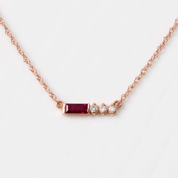 $840 Ruby Baguette and White Diamond Necklace in 14K Rose Gold // Ruby Necklace // Ready to Ship // Diamond and Ruby Pendant - I'd like a ring like this, set in simple yellow gold band, maybe with blue sapphire instead