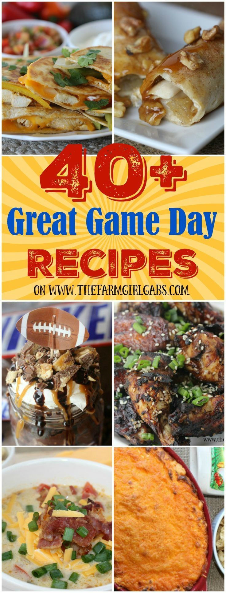So many awesome recipes here, can't wait to try these out for Monday Night Football! 40+ Great game day recipes for your next football party.
