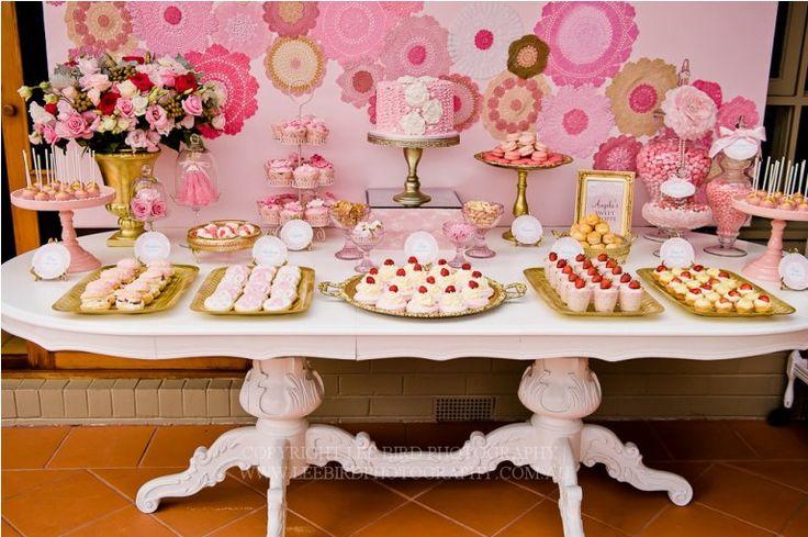Pink & gold dessert table