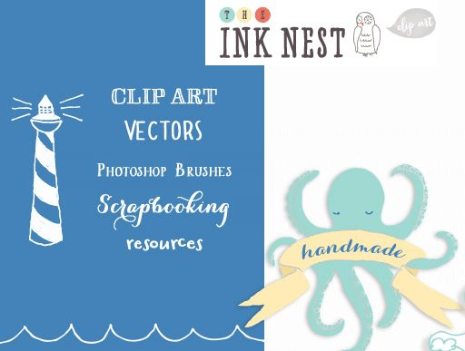 The Ink Nest - awesome resource for hand drawn graphics, clip art, Photoshop brushes and vectors