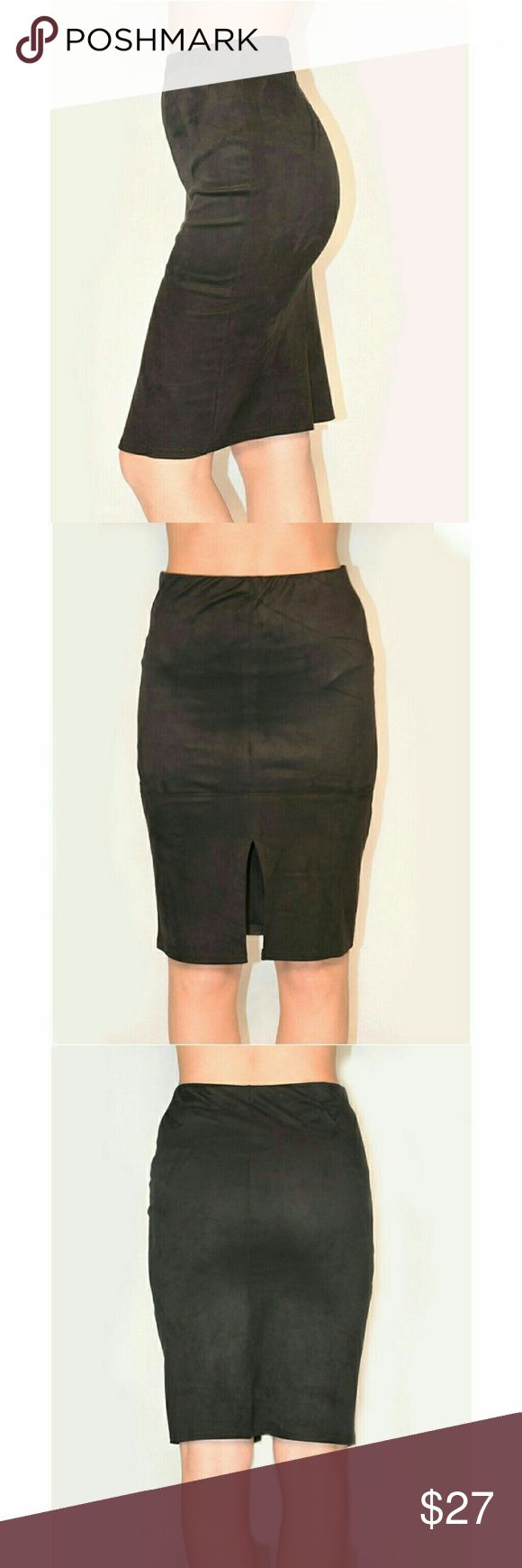 Velvet Front-Slit Skirt This chic skirt is the perfect piece for a professional or party look. It features:  Elastic band at the waist Front slit Unlined 100% polyester Arch & Bow Skirts Pencil