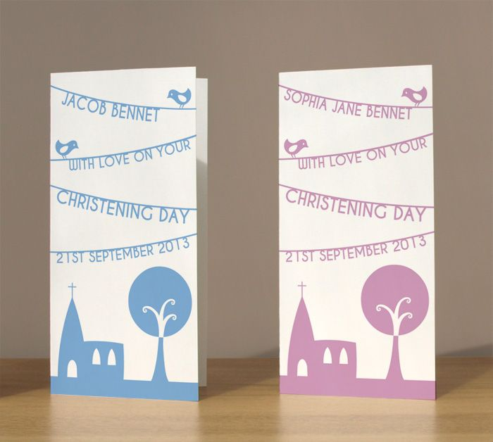 Personalised Christening cards £3.99 by Doodlebump. Choose from blue or pink and personalise by adding a name and Christening date.
