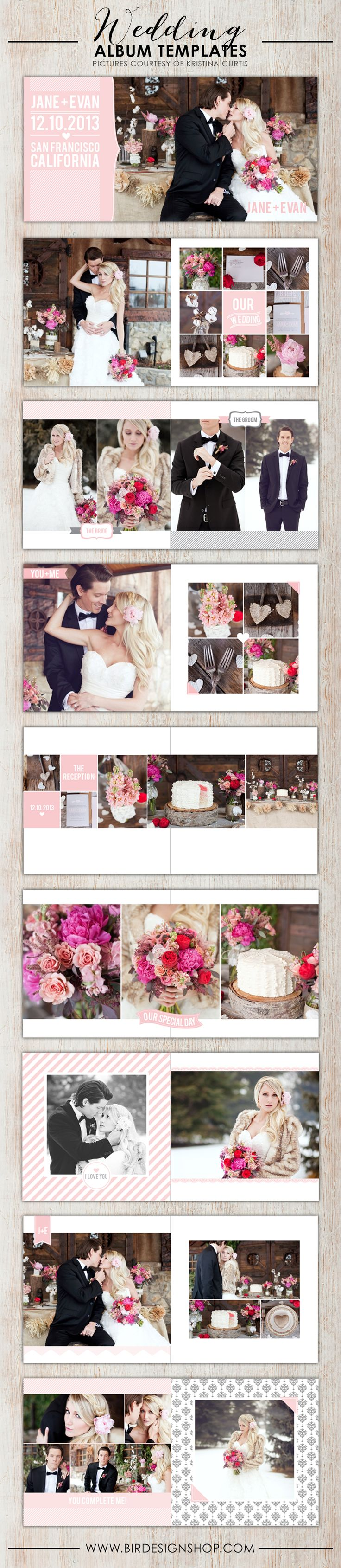 Check out the new wedding album templates! Fresh, romantic and a classic look to show the best shoots of your wedding sessions. Fully customizable layer....