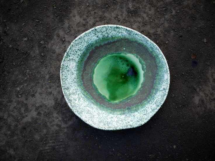 handmade ceramic plate, decoration, table, emerald green, nature, gift