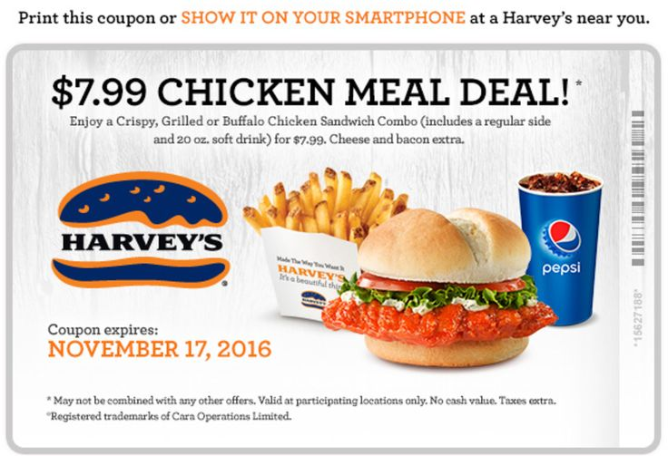 Harveys Canada Coupons: $7.99 Chicken Meal Deal! http://www.lavahotdeals.com/ca/cheap/harveys-canada-coupons-7-99-chicken-meal-deal/135143
