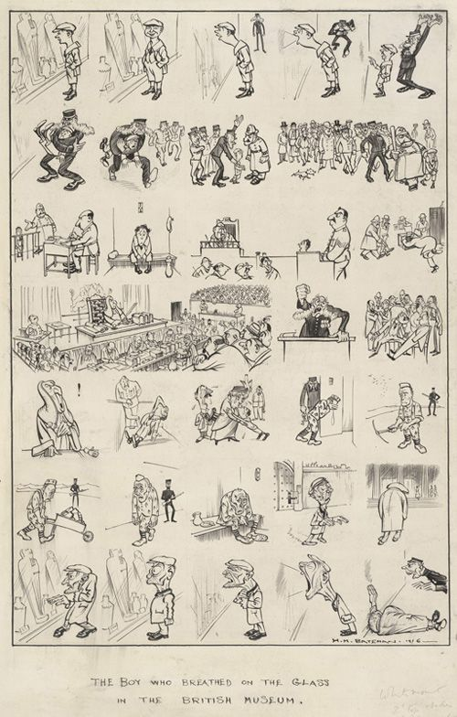 The Boy Who Breathed on the Glass at the British Museum -- Punch cartoons by HM Bateman   PUNCH Magazine Cartoon Archive - 1916