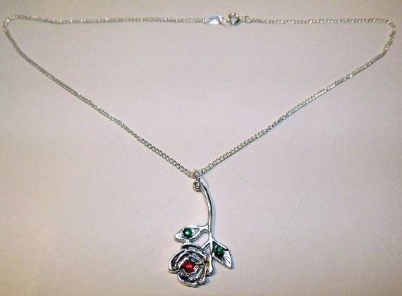 My Love is a Red Rose Necklace  FREE UK P&P Pagan by KasumiCrafts