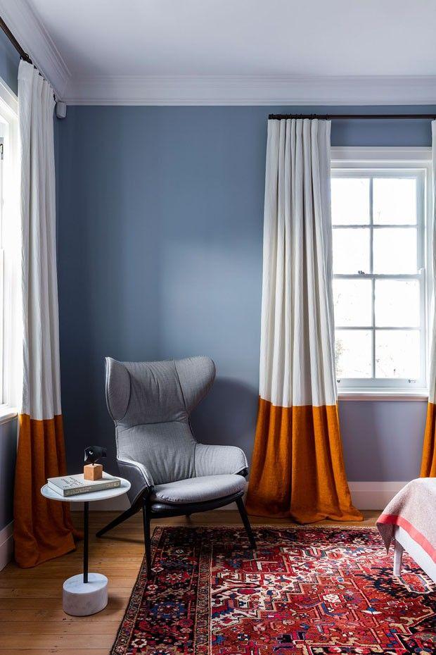 Décor do dia quarto azul com cortina bicolor Interior Pinterest - cortinas azules