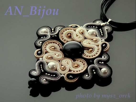 Soutache pendant Pearls with Onyx. от ANBijou на Etsy