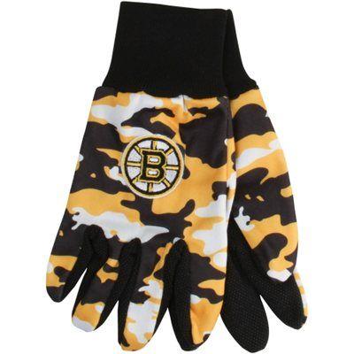 Boston Bruins Camouflage Utility Work Gloves - Gold