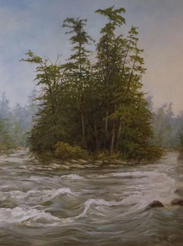 """White Water French River 32""""x 24"""" Oil Painting by ..Greg Hand"""