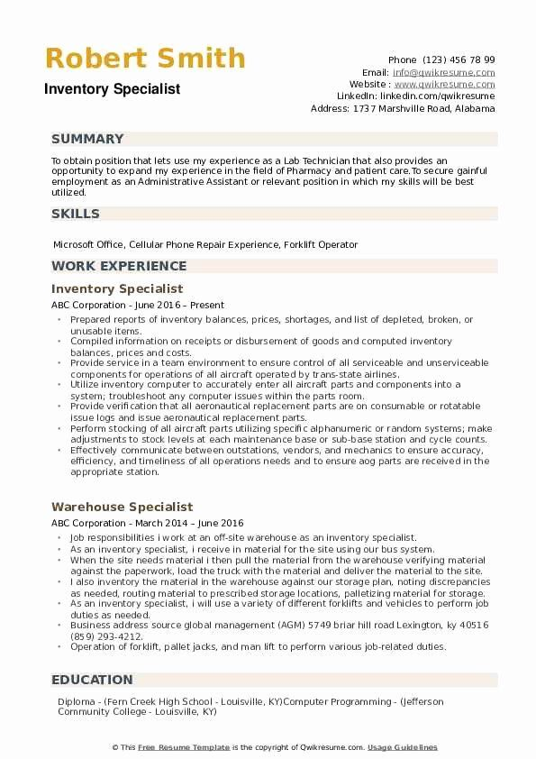 Inventory Control Specialist Resume Lovely Inventory Specialist Resume Samples Resume Good Resume Examples Job Resume