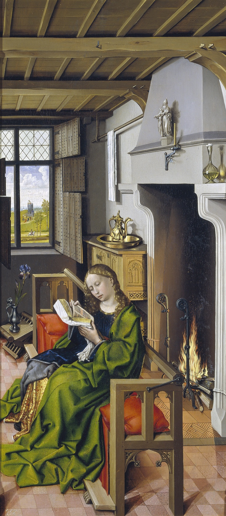 Master of Flemalle (Robert Campin?), The Werl Altarpiece (left panel), Saint Barbara, completed 1438 in Cologne. Now in the Prado, Madrid. 547×1,285 pixels