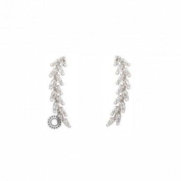 Μακριά γυναικεία σκουλαρίκια λευκόχρυσα Κ14 σαν στάχυ από σιτάρι δεμένα λεπτά με ζιργκόν | Κοσμηματοπωλείο ΤΣΑΛΔΑΡΗΣ στο Χαλάνδρι #14κ #λευκοχρυσο #ζιργκον #σκουλαρικια