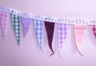 cute bunting, made from scraps of fabric for my girls' room xx