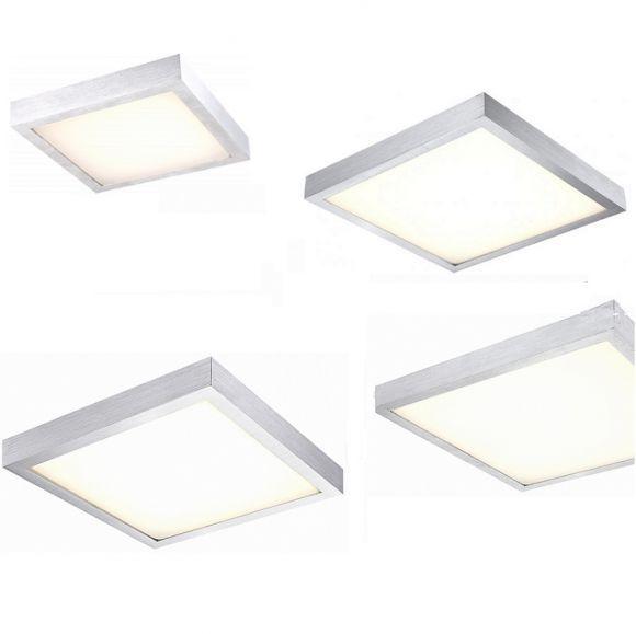 LED-Deckenleuchte - Aluminium gebürstet mit weißem Kunststoffglas, 4 Größen wählbar | WOHNLICHT
