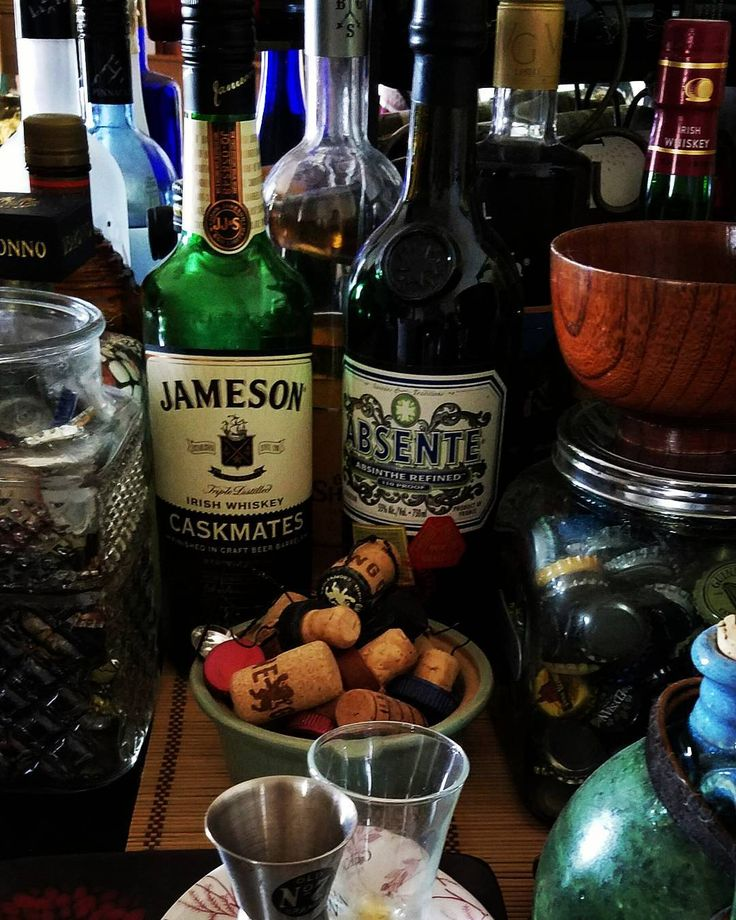 What's on the end of your bar?  #drinks  #whiskey #absenthe #bar #alcohol #homebar #treats #beer #brew #shots #vintage #wine #spirits