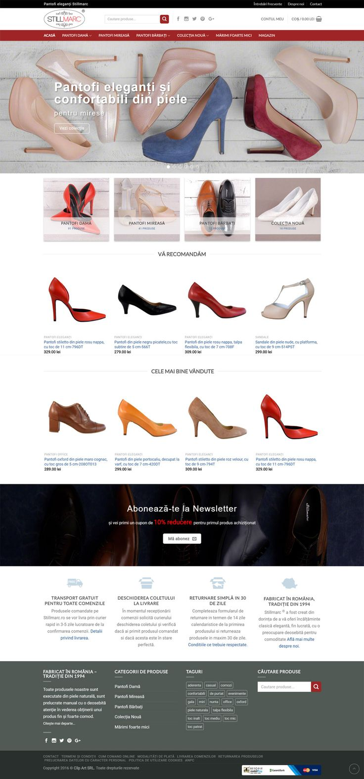 Haide în magazinul nostru online https://stillmarc.ro/ unde îți oferim pantofi de mireasă, eleganți și confortabili din piele naturală. Mărimi 32-42, cu tocuri mici, medii sau înalte. De asemenea vă oferim pantofi eleganți pentru bărbați, mărimi 39-46. Prețuri de producător, iar transportul este gratuit.