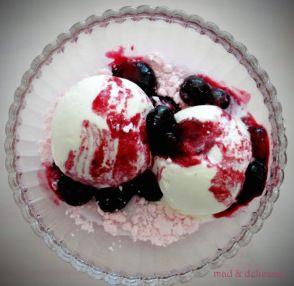 vanilla ice cream with warm berries