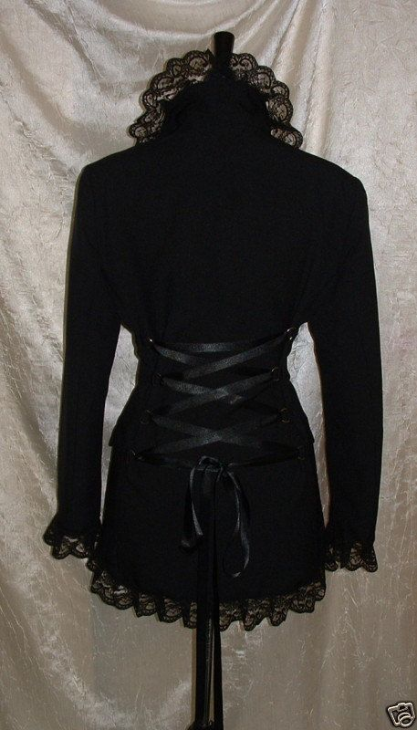 long black coat riding jacket corset coat fantasy goth steam punk burlesque victorian corset back lace  US size 8 10 12 14 on Etsy, $52.00