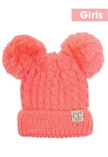 1b4e36f6d39 CC Beanies Double Pom Beanie Cable Knit Beanie for Kids in Coral KID ...