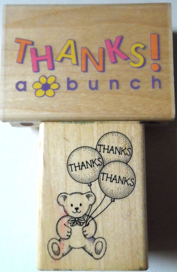 "$9.98/ USED Rubber Stamps Lot of 2 ""Thanks a Bunch"" & ""Thanks"" Balloon Bouquet ~ for scrapbooking, papercrafting, arts & crafts, stamping and more! https://www.etsy.com/shop/ShellysSweetFinds?"