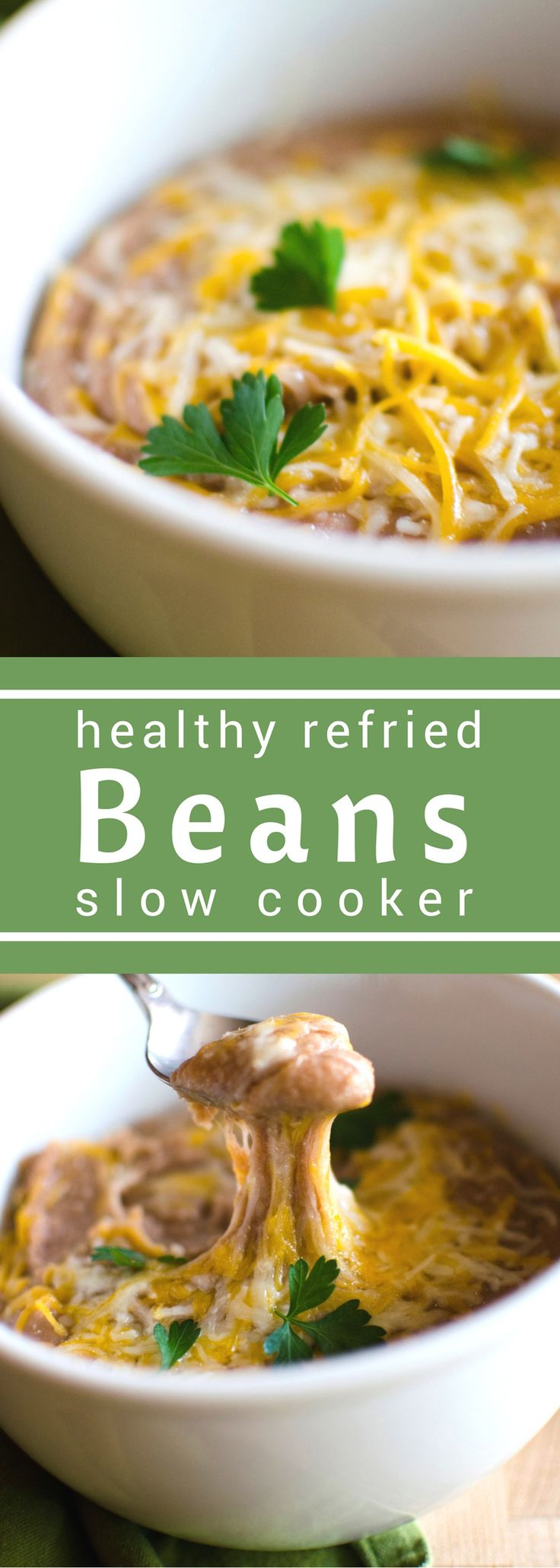 Slow Cooker Healthy Refried Beans are a must for any Cinco de Mayo celebrations. #SundaySupper. only a few simply ingredients makes one healthy side! It's the perfect side for Taco Tuesday!