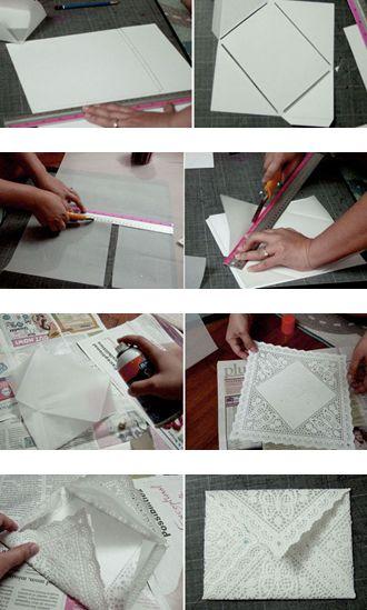 Bride to Bride: Lace Envelope for Wedding Announcements