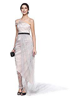 TS Couture® Cocktail Vestito Linea-A Senza spalline Alla caviglia Di pizzo / Raso / Con strass con Gonna con riprese / Drappeggio di lato