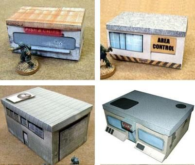 A Lot Of Sci-Fi Papercraft Buildings For Dioramas, RPG And Wargames - by Germy