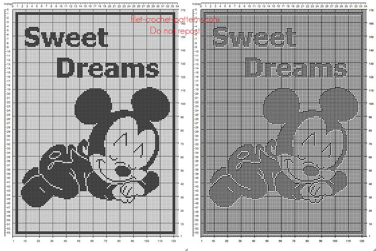 Free Disney filet crochet pattern baby blanket with baby Mickey Mouse sleeping