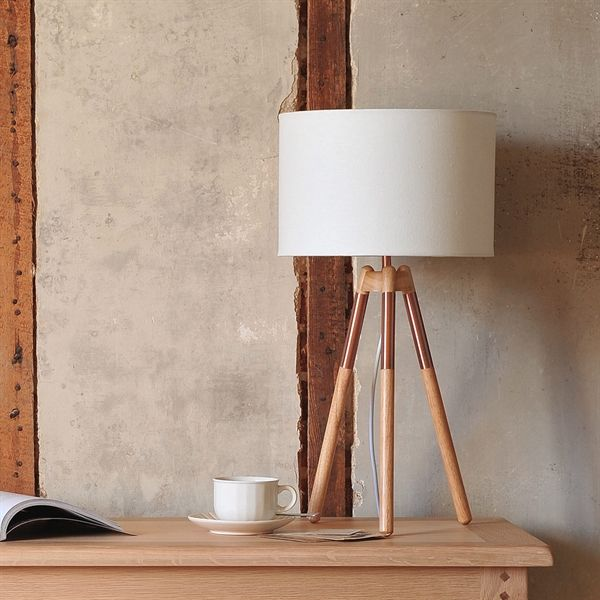 Orla Table Lamp - Natural/Bronze (934.001) with Free Delivery | The Cotswold Company Tripod Table Lamp, Bronze Lamp, Cream Lampshade, Tripod Lighting.