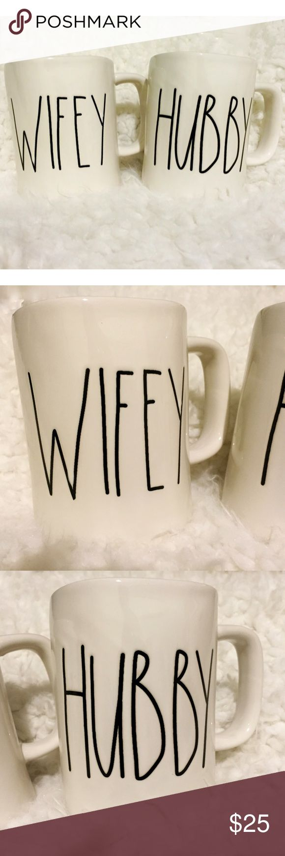 Rae Dunn Wifey and Hubby Mug Set Brand new, never used. This set includes 1 Rae Dunn Wifey and 1 Hubby Ivory/Off White Mug. Perfect to use for that rustic/farmhouse style or to give as a wedding or housewarming gift! i have other Rae Dunn items in my closet! Rae Dunn Other