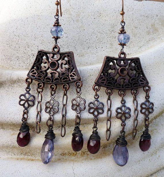 Chandelier Earrings, Long, Dangle, Garnet,  Mystic Quartz, Antique Copper, January Birthstone