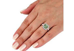 1 Carat Green Amethyst and Engraved Diamond Ring, Sterling Silver, Featured on CBS Good Morning