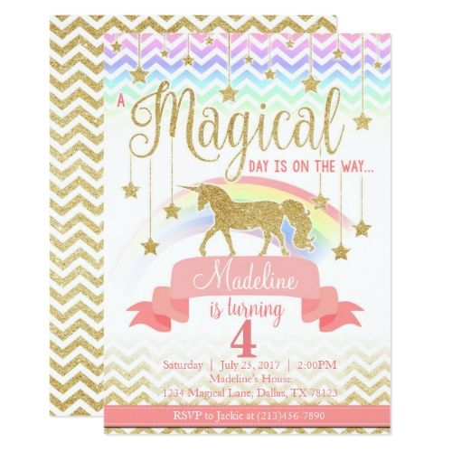 120 best magic birthday party invitations images on pinterest magical rainbow unicorn birthday party invitation stopboris Images