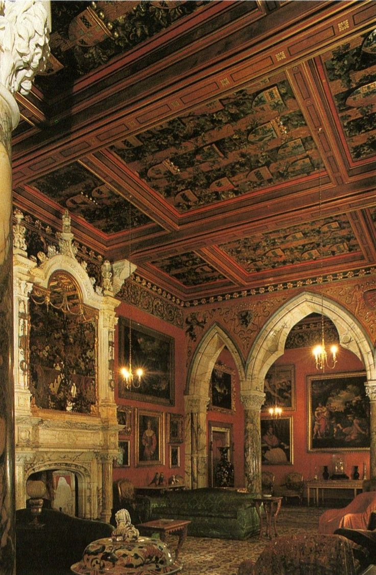 The Spanish Gothic grandeur of the drawing room at Mount Stuart House in Scotland.