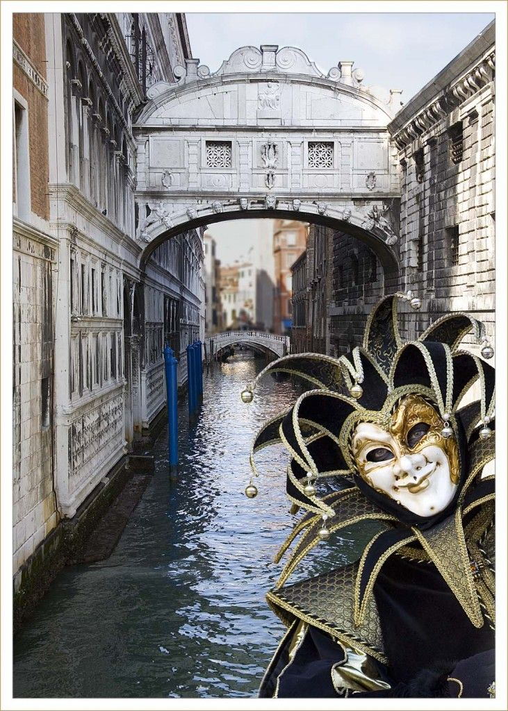 "Bucket list: attend Carnival and float through the canals of Venice, Italy. ""Jester by the Bridge of Sighs (venice Carnival 2008) by Robert Croft. LRPS. CPAGB"""