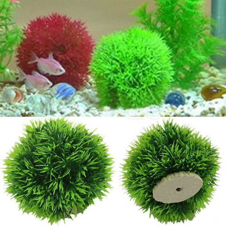 1 PC New  Artificial Aquatic Plastic Plants Fish Tank Aquarium Grass Ball Fish Tank Ornament Decor #Affiliate