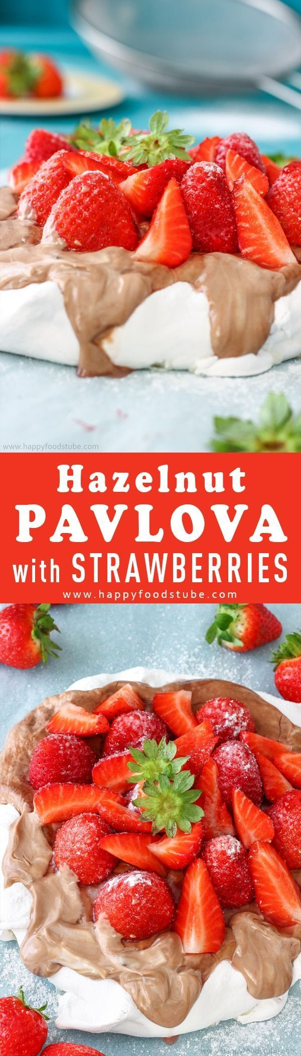 Hazelnut Pavlova cake with strawberries is the ultimate summer dessert. Sweet meringue shell is topped with Nutella layer and fresh strawberries. Super easy to make dessert recipe via @happyfoodstube