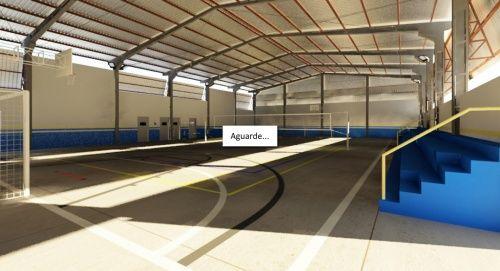 Projeto arquitetônico da quadra poliesportiva coberta que será construída na Patrulha Mirim. (Projeto)