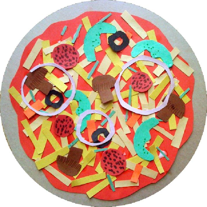 Students love this project where they get to invent their own pizza. It is a great project with lots of cutting for the kids. They all start by tracing two large circles for the crust and the sauce. Next, they cut lots of tiny rectangles of the cheese. After that they let their imagination run wild and add lots of delicious toppings!