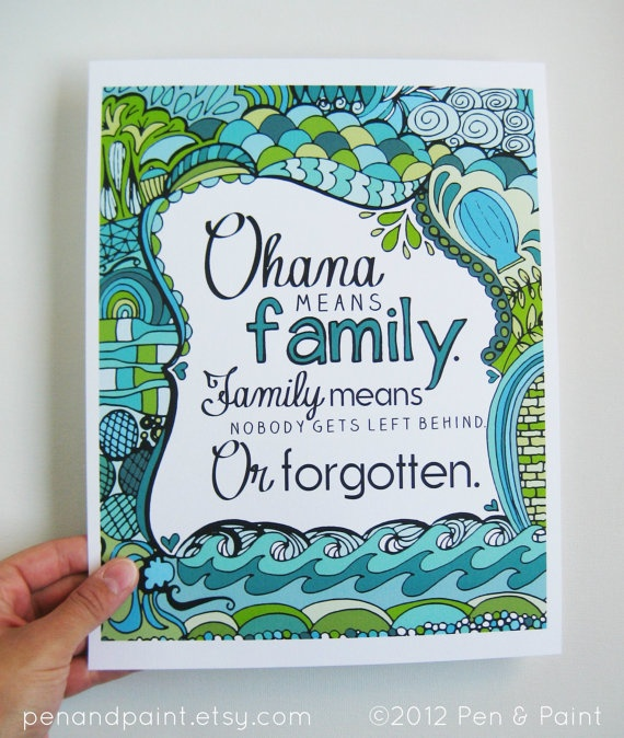 Ohana Family Teal Seafoam Turquoise 8 x 10 Art by penandpaint, $17.50