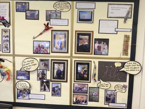 Love this idea for each child having their own display space for photos and creations, annotated with their dialogue and descriptions.