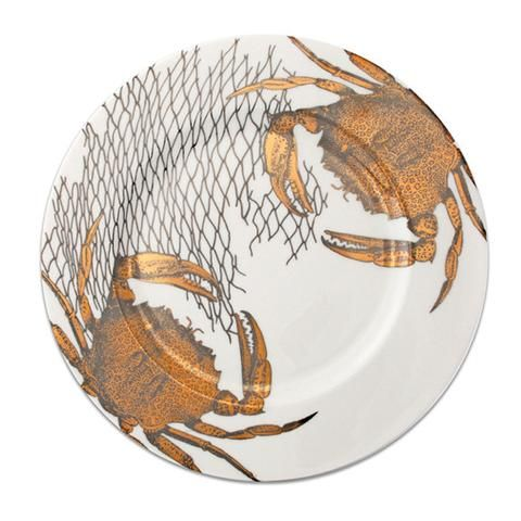 """Crabs & Nets Gold & Platinum 12.25"""" Charger"""