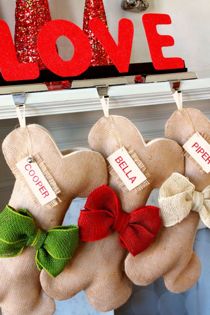 Dog Bone Christmas Stocking, Unique Burlap Pet Holiday Stocking with burlap bows. Great Quality. Many colors to choose from! Beautiful! by ChristmasClaude on Etsy