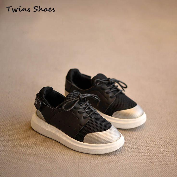 2016 весна осень белые кроссовки мальчики мода квартиры дети PU кожаные кроссовки для девочек спортивная обувь марка сетки черные туфли