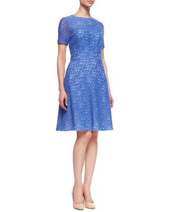 Lace Fit-and-Flare Dress by Kay Unger New York at Neiman Marcus.