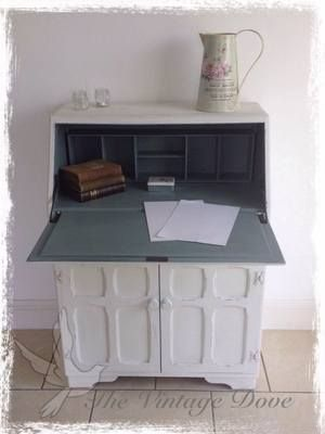Vintage Bureau - Painted in Annie Sloan Old White and the interior in Duck Egg.  Waxed for protection.  Please go to www.thevintagedove.com to purchase this stunning bureau  #shabby chic £165